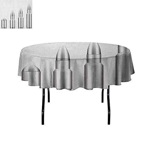 DouglasHill Silver Leakproof Polyester Tablecloth Set of Bullets from Small to Big Military Ammunition Weapon Shotgun Firearm Defense Outdoor and Indoor use D35 Inch Gray White