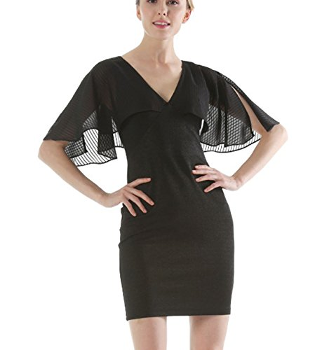 Selenaly Women Summer Batwing Sleeve Short Slim Fit Office Dress (Black (Flapper Girl Attire)