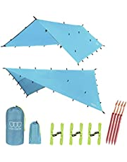 Gold Armour 12ft Extra Large Tarp Hammock Waterproof Rain Fly Tarp 185in Centerline - Lightweight Ripstop Fabric - Stakes Included - Survival Gear Backpacking Camping Accessories - Multiple Colors