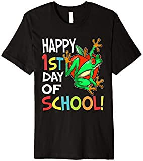 Happy 1st Day of School  Back to School Frog Premium T-shirt | Size S - 5XL