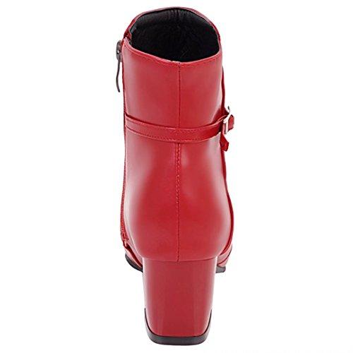 AIYOUMEI Damen Winter Chunky Heel Stiefeletten mit Schnalle und Blockabsatz Bequem Ankle Boots Rot