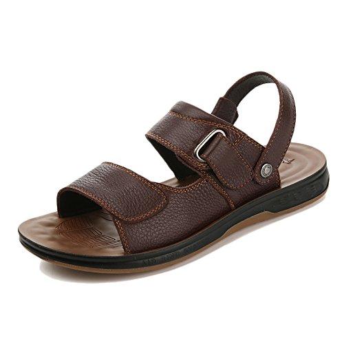 Sandalias Playa snfgoij De Aire Punta Cómodos Cuero Al Zapatos Ajustables Casual Verano Hombres Libre Deportes Para Brown2 Abierta FdwHOqwA