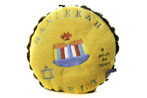 Copa Judaica Chewish Treat 9 by 9-Inch Hannukkah Gelt Squeaker Plush Dog Toy, Large, Multicolor