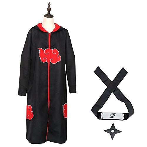 Halloween Robes (COSFAN Cosplay Akatsuki Uchiha Madara Sasuke Itachi Unisex Halloween Costume Uniform Cloak Hooded with Shinobi Headband Throwing Stars(S))