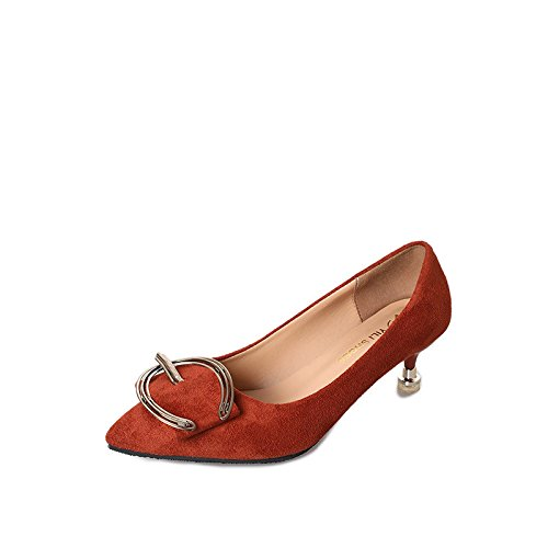 GAOLIM Zapatos De Mujer Zapatos De Mujer De Primavera Y Verano Señaló-Toe Hebilla Delgada Y Ligera, Zapatos De Tacón Alto, Y 3-5Cm () Color caramelo