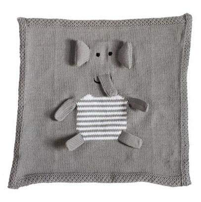 Organic Cotton Finger Puppet - Estella Hand Knit Organic Cotton Baby Security Blanket, Elephant Puppet Design Lovey - 14