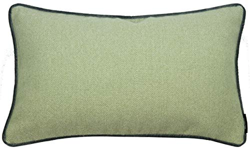 (McAlister Boutique Herringbone Boudoir Decorative Pillow Cover | 12x18 Sage Green with Gray | Plush Wool-Textured Flannel Tweed | Farmhouse Cabin Accent)