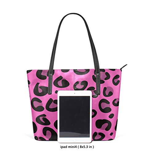 Handbag Totes Purses Fashion Pink Handle TIZORAX Leather Bags Texture Shoulder Top PU Leopard Women's UF76H0q