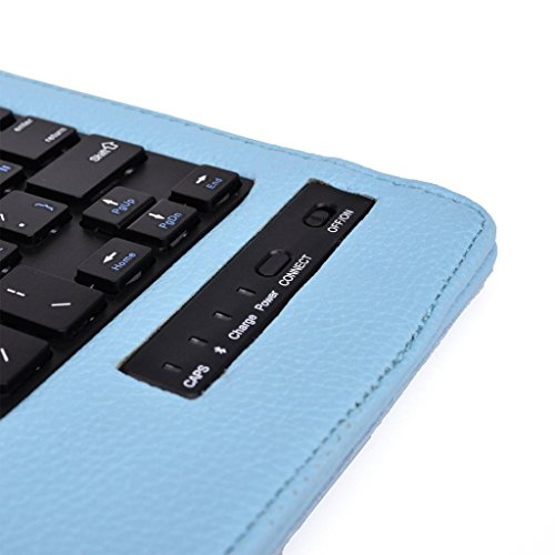 Tsmine Nextbook Ares 8 Tablet Wireless Keyboard Case - Universal 2-in-1 Detachable Wireless keyboard [QWERTY] w/Folio Leather Case Stand Cover [NOT include Tablet], Light Blue by Tsmine (Image #7)