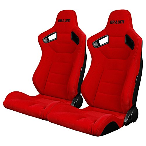 BRAUM - Pair of Red Fabric ELITE Series Racing Seats With Black Stitching (BRR1-RFBS) ()