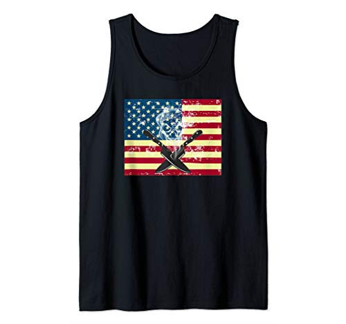 Chef Knife Distressed US Flag | Chef Costume for Cooks  Tank Top (Knife Chefs Dick 10')