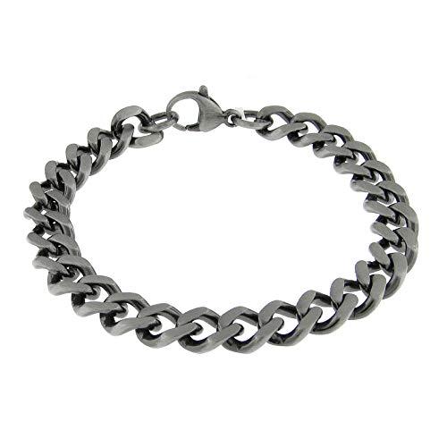 Lavari - Stainless Steel Antique Finish Curb Chain Bracelet 8.5