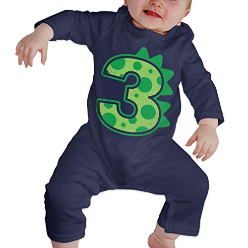 (POOPEDD Dinosaur Birthday Boy Unisex Baby Long Sleeve Onesies Infant Bodysuits Navy)