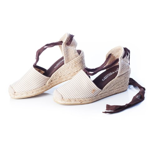 VISCATA Stripe Espadrilles White Escala Spain Soft Made Ankle Closed 2 in Beige Classic Toe 5