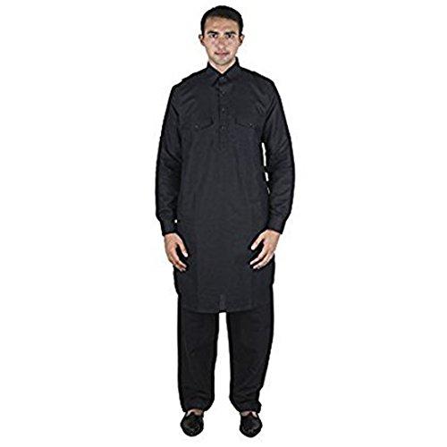 Linen Kurta - Royal Kurta Men's Linen Pathani Suit Set 40 Black