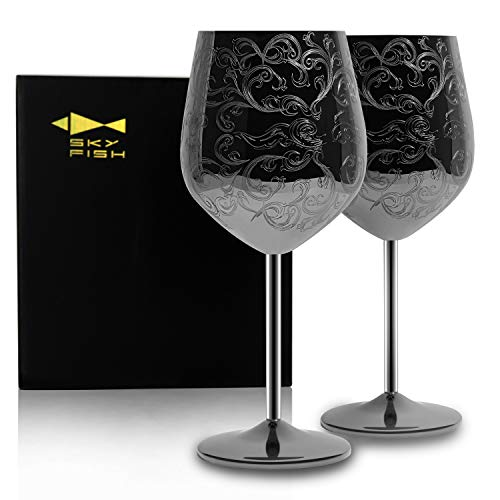 SKYFISH Stainless Steel Wine Glasses With Black Plated,etched with intricate and authentic baroque engravings,Royal style wine goblets,Set of 2(17oz)