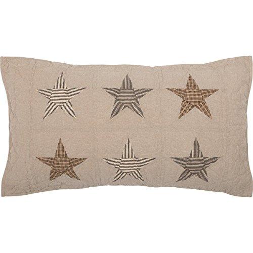- VHC Brands Farmhouse Bedding Sawyer Mill Star Sham, King, Tan