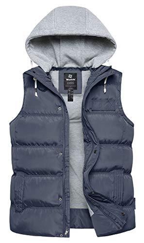 Kerrian Online Fashions 41y7hiC9RCL Wantdo Men's Winter Puffer Vest Removable Hood Warm Sleeveless Jacket Gilet