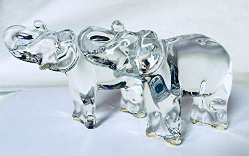 Baccarat France Crystal Lot of 2 Elephant Trunk Up Art Glass Figurine Paperweight