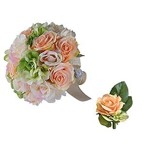 Classic Elegant Bridal Bouquet & Boutonniere Peach Green Rose Hydrangea with Rhinestone Handle 57