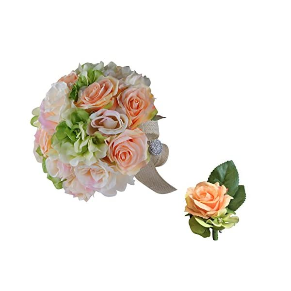 Angel Isabella Classic Elegant Bridal Bouquet & Boutonniere Peach Green Rose Hydrangea with Rhinestone Handle