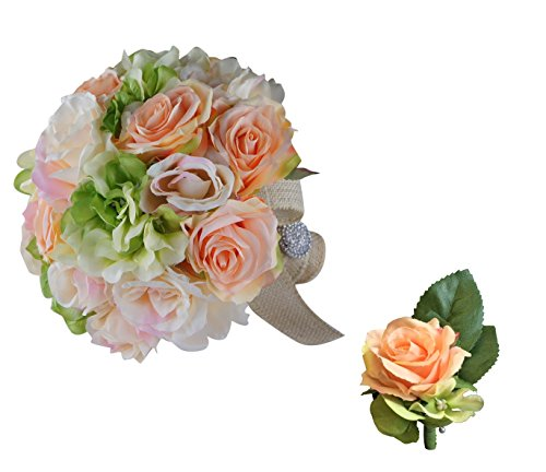 Classic Elegant Bridal Bouquet & Boutonniere Peach Green Rose Hydrangea with Rhinestone Handle