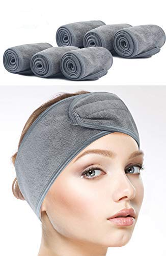 Sinland Spa Headband for Women 6 Counts Adjustable Makeup Hair Band with Magic Tape,Head Wrap for Face Care,Mask, Makeup and Sports ()