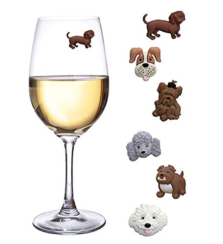 Simply Charmed Magnetic Dog Wine Charms or Glass Markers for Stemless Glasses - Great Birthday or Hostess Gift for Dog Lovers - Set of 6 Cute Puppy Glass Identifiers (Wine Holder Dog)