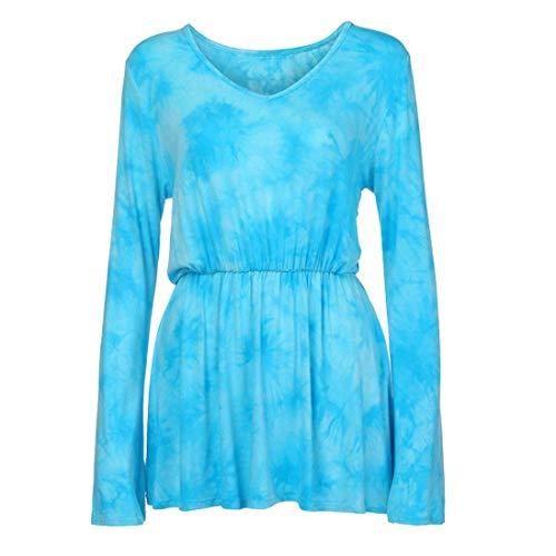 Belted Georgette - Hem Blouses Tops, Clearance Duseedik Women Fashion V-Neck Tie-Dye Print Long Sleeve Tops Pleated Waist Line Blouse