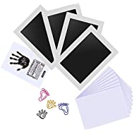 Baby Inkless Handprint and Footprint Kit with 4 Large Size Ink Pads and 8 Imprint Cards by PChero, Perfect for Family Keepsake Baby Shower Gift and Registry