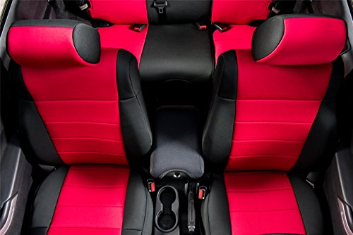 PERNICE Jeep Wrangler Neoprene Seat Covers Custom Fit for 2007, 2008, 2009, 2010, Airbag Compatible (4 DOOR, Red)