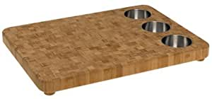"Totally Bamboo 3-Bowl Butcher Block Prep Board, 100% Organic Premium Bamboo - Chopping, Cutting, Serving & The Perfect Gift (16.5"" x 22"" )"