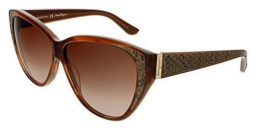 Salvatore Ferragamo SF711SL Sunglasses-216 Striped Brown (Brown Gradient Lens)-59mm