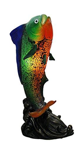 Rainbow Mahi Mahi Crackled Glass Accent Lamp