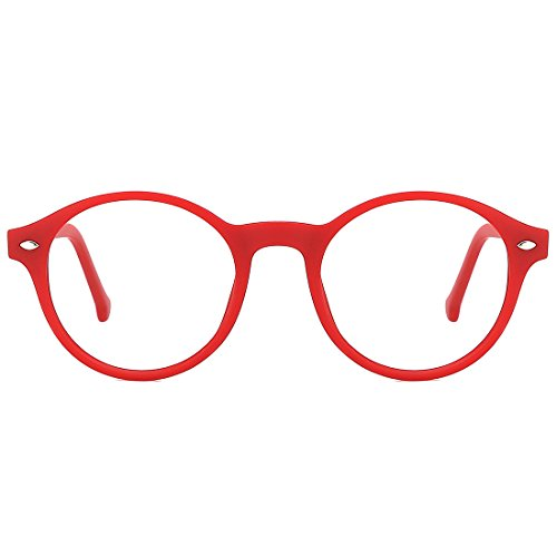 TIJN Men Women Classic Round Non-prescription Glasses Frosted Eyeglasses Frames,red]()