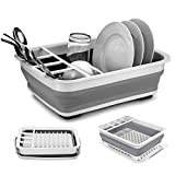 Collapsible Dish Drying Rack, Multipurpose Dish Drainer Foldable Kitchen Filter Water Storage Sink Dish Rack with Drainboard, Easy to Clean, Perfect for Space Saving (Collapsible Dish Rack)