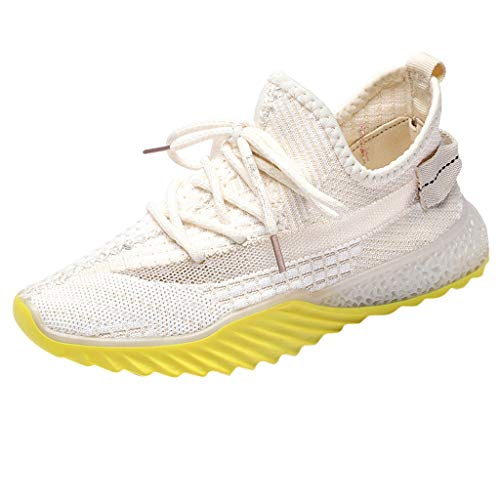 HTHJSCO Womens Sneakers Ultra Lightweight Mesh Breathable Athletic Running Walking Gym Shoes Beige ()