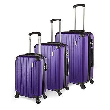 TravelCross Columbia Luggage 3 Piece Lightweight Spinner Set - Purple