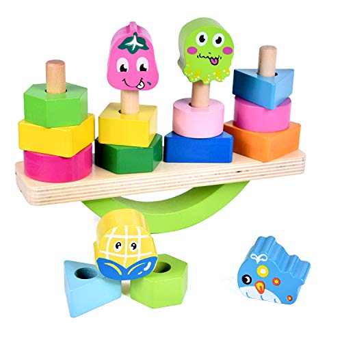 Wooden Stacking Toys with Geometry Shape Stacking Blocks & Stacker, Stacking Balancing Game Toys for Toddlers, Shapes & Colors Learning Toys, Preschool Wooden Educational Toys