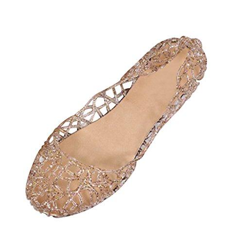 Dear Time Women Flat Heel Summer Beach Jelly Shoes Gold US 7.5