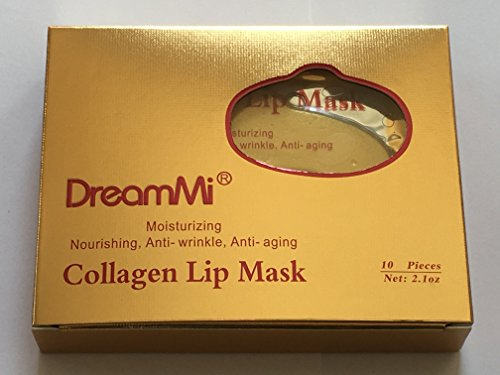 DreamMi 50 Pieces (Comes in 5 Boxes) Gold Bio Collagen Gel Lip Pad Mask Patch Sheet, Moisturizing, Nourishing, Anti Fine Line, Anti Wrinkle and Anti Aging, By DreamMi️ by DreamMi (Image #1)