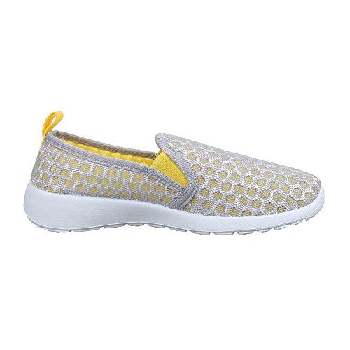 Ital-Design Damen Schuhe, C27-15, Halbschuhe Sportliche Slipper Grau Gelb