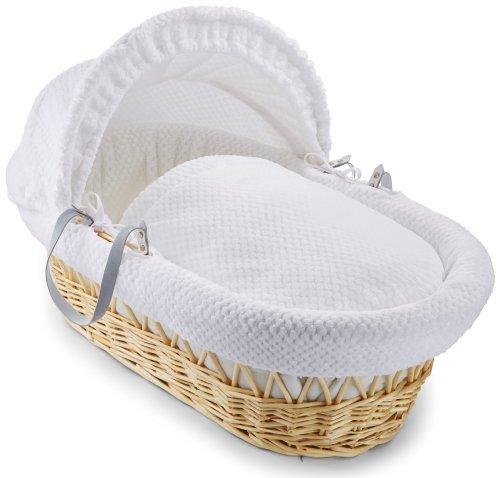 Clair de Lune Honeycomb Natural Wicker Moses Basket (White) by Clair de Lune