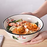 RXY-BOWL Japanese-Style Ceramic Rice Bowl Instant Noodle Bowl, Restaurant with Anti-scalding Thread Soup Bowl Dessert Bowl (Size : 19.3x19.3cm)