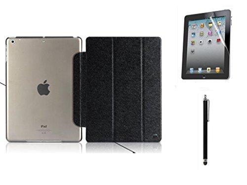 Kansang Luxury Black Silk Pattern Ultra Slim PU Leather Smart Cover Case for Apple iPad 2 iPad 3 iPad 4 Retina with 1xScreen Protector and 1x Stylus Pen