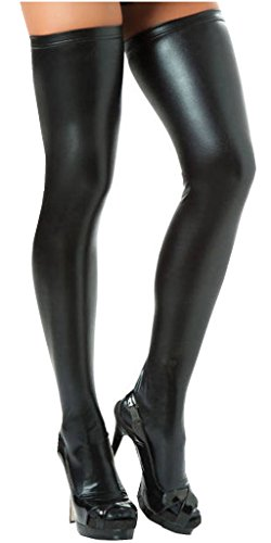 466342ab5dbf2 Jual IGIG Women's Wet Look PVC Leather Thigh High Stockings Tights ...