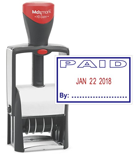 Heavy Duty Date Stamp with PAID Self Inking Stamp - 2 Color Blue/Red Ink
