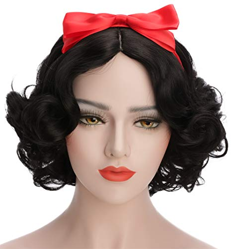 Snow White Wig Child (Karlery Women's and Kids Short Bob Wave Black Cosplay Wig Halloween Costume Wig Anime Party)