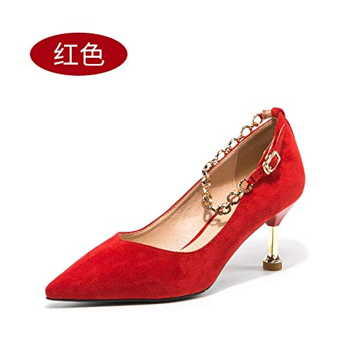 alto Wedding Red tacón Red A Stiletto Shoes Female Bride Heels Word Shoes Yukun High Buckle zapatos Shoes Wedding de SUqwtR