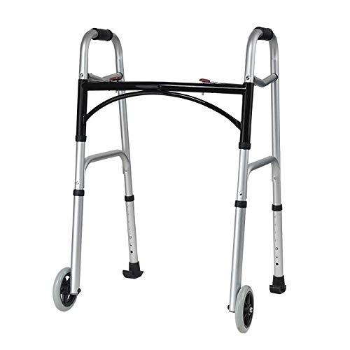 Rziioo Andador Plegable de Dos Botones con Ruedas, Andador para discapacitados de Aluminio para Caminantes de Edad Avanzada